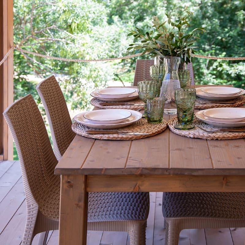Tenda Oliva tavolo veranda